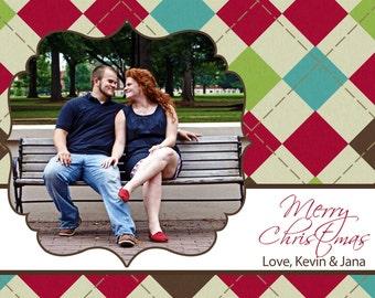 Preppy Argyle Merry Christmas Holiday Photo Card