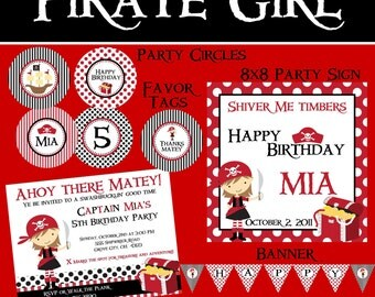 Pirate Girl Essentials Birthday Party Package - Girl DIY Printable