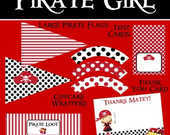Pirate Girl - Big Birthday Party Package - DIY PRINTABLE