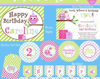 What a Hoot Mini Birthday Party Package - Girl DIY Printable