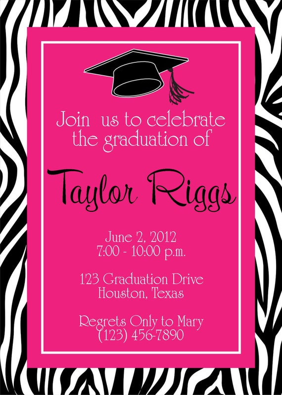 graduation zebra & hot pink party invitation girl birthday, Birthday invitations