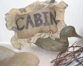 Cabin Cushion, Burlap with Recycled Frill from old pillowcase, with leaves and moose