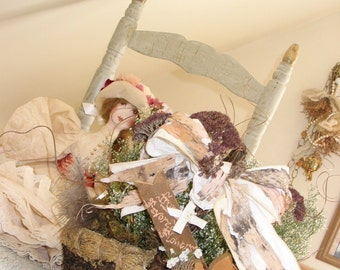 Flowergirl's or centerpiece dried flower basket, custom writing on tag,  rustic, moss and dried leaves