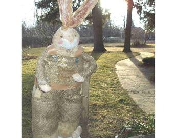 EASTER! Burlap Bunny takes a Break..  Gardeners, Rabbit Collectors!