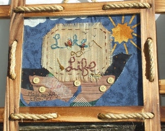 """Lake Life embroidery scene framed rustic (can go with """"Log Life"""" also)"""