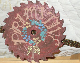 RUSTY (painted to look so) Saw Blade :  Primitive, with folk art flowers