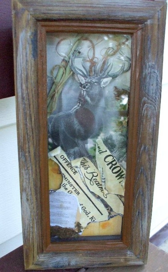 Shadow Box for Hunter or Nature/Deer Lover Collage of Parchment, Tole, can do custom orders for size and theme
