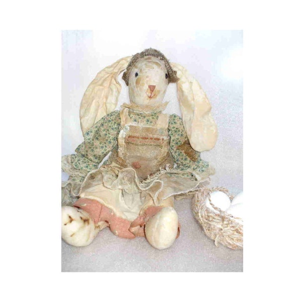 Mrs. Rustic Rabbit, Easter gift for the Primitive Country Decorating Lover