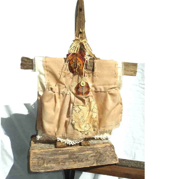 Unique primitive dress form, with aged doll's dress, tea-stained, accessorized