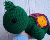 Crocheted Stuffed Turtle with Granny Square Shell // Large Turtle Plushie