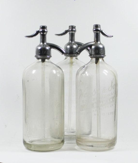 Vintage Seltzer Bottle: Clear Glass