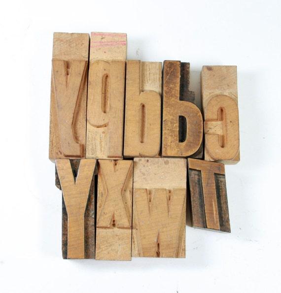 Vintage Wood Letterpress Letters: Set of 9