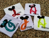 Custom Applique Mickey Initial  shirt perfect for Disney vacation, birthday, beach, summer, etc.