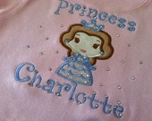 Custom applique Princess shirt, Belle, perfect for Disney vacation or princess birthday
