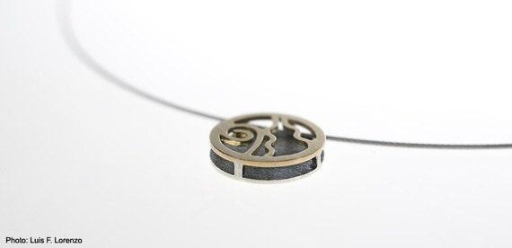 Spirals Pendant. 18K Gold and Sterling Silver 925 - Luis Méndez Artesanos.