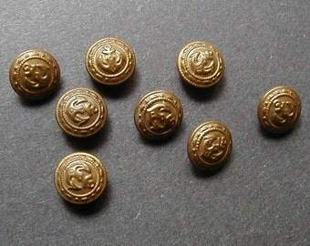 Eight Brass Waterbury Uniform Buttons Crest Pattern With Anchor