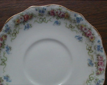 J Pouyat Limoges Saucers Roses and Forget Me Nots 1898 Lot of 3