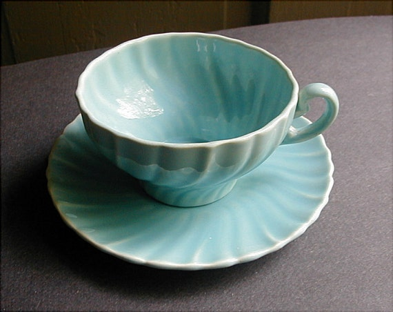 Antique Franciscan Pottery Gladding Mcbean Coronado Aqua Cup
