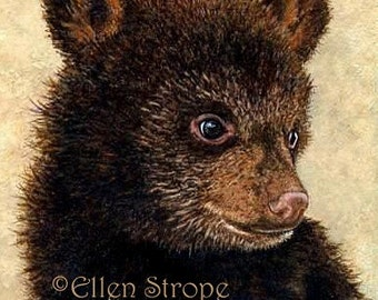 PRINT, bears, cub, brown, black bear, Giclee, wildlife, cabin decor, lodge decor, bear cub, miniature prints