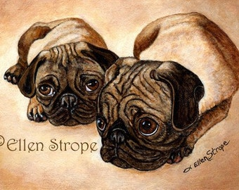 The Pugs- Giclee Open-Edition Print Dogs, Pugs