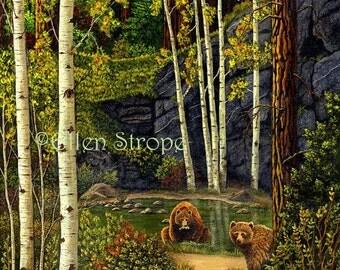 BEARS- Giclee Print, Brown, aspen trees, water, pond, Ellen Strope, fish, brown bear, wildlife, cabin decor, lodge decor, rustic decor