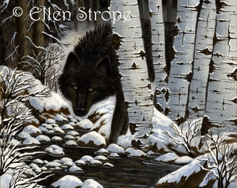 BLACK WOLF- Note Cards- Wolf decor, Blank cards, Ellen Strope, Wolves