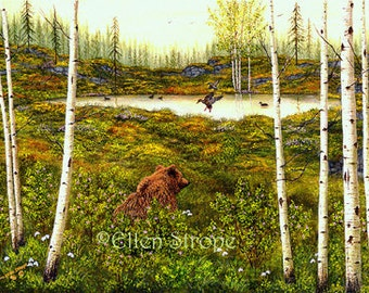 NOTE CARD, Bear, Ducks, Aspen Trees, Blank note card, cabin decor, cards, rustic decor, lodge decor, bear decor