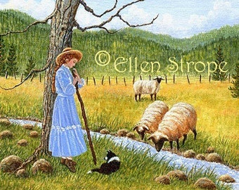 CARD, Shepherd Girl, Girl, Dog, Border Collie, Dog decor, Sheep, Water, Blue, Note card, Greeting cards, Ellen Strope