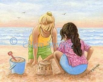 CARD, Beach, Cousins, Water, Ocean, Girls, Children, Ocean, Beach, Shovel, Bucket, Sand, Blue, Sky, Miniature, Ellen Strope, Greeting Card