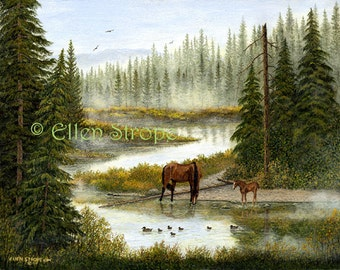 CARD, Swimming, Horses, Ducks, Water, Trees, Forest, Note card, Greeting Card,  Horse decor, Bird decor, Ellen Strope