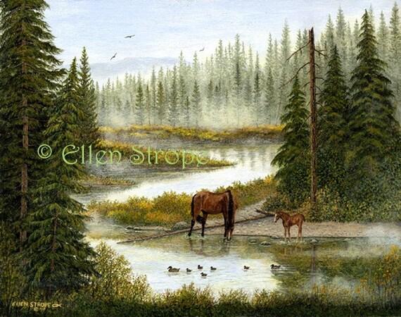 Horses- 11 X 14 Giclee Print- Horses, ducks, water, western decor, horse decor, prints, trees, whoa team