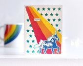 Congrats Greeting Card. RAINBOW EXPLOSION Unicorn, Rainbow, Stars.