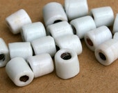 Crooked Teeth White Recycled Glass Beads