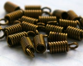 20 Brass Spiral Metal Spring Crimp Ends