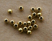 20 Recycled Brass Round Beads