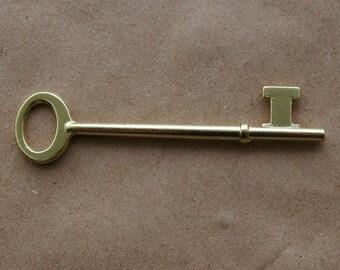 Classic Bright Brass Skeleton Key