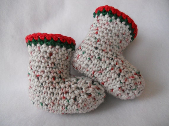 Christmas Speckled cotton sock-booties