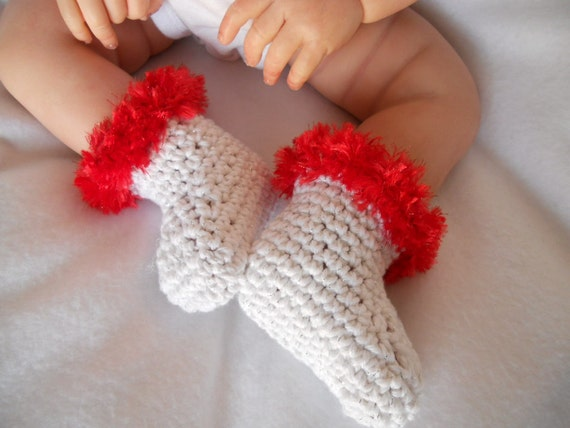 Christmas booties with Red fur trim fits 3 to 6 months  Ready2Ship
