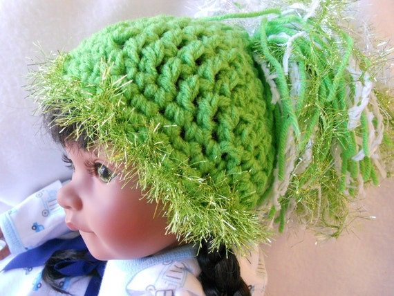 "SUPER SALE Oddball Baby Beanine - Christmas Green -  Pompom Photography Prop hat  - 15"" Circumference and Ready2Ship"