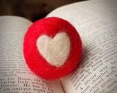 Needle Felted Heart Wooly Ball Handmade (1)
