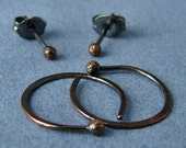 Rustic Copper Hoops and Post Earrings, Artisan Jewelry, Oxidized 20 gauge