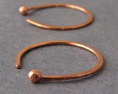Copper Ball Hoops, Hammered Earrings, 20 gauge, 16mm OD - Artisan Made in USA