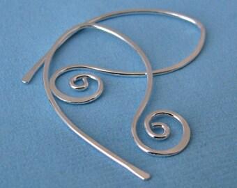 Hammered Large Sterling Silver Hoop Earrings, Handmade Jewelry, Swirly Leafs - 20g