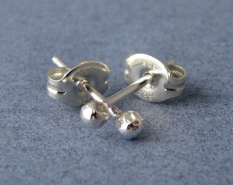Sterling Silver Tiny Ball Post Earrings, Handmade Jewelry, Natural Bud Studs