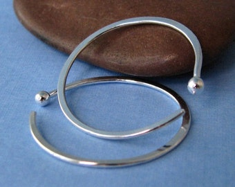 Large Fine Silver Hoop Earrings 18g 1 inch, Hammered, Choice of Open or Closed