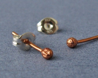 Copper Post Earrings, Tiny Bud Studs, Handmade Artisan Jewelry, 2 pairs - Made in USA