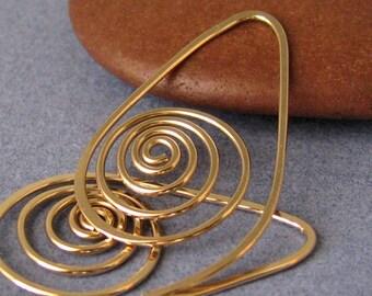 Spiral Hoop Earrings, 14k Gold Filled Seashells, Artisan Jewelry Made in USA