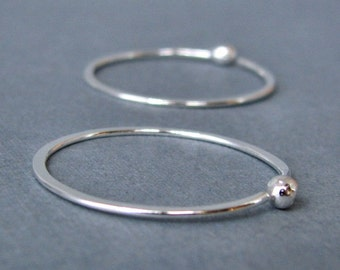 18g Large Hoop Earrings, Sterling Silver 1 inch Hammered Sleepers - Artisan Jewelry
