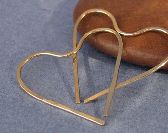 Hammered Heart Hoop Earrings, 14k Gold Filled - Artisan Jewelry Made in USA