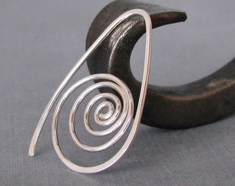 Sterling Silver Swirl Hoop Earrings, Spiral Sea Shells - Artisan Jewelry Handmade in the USA